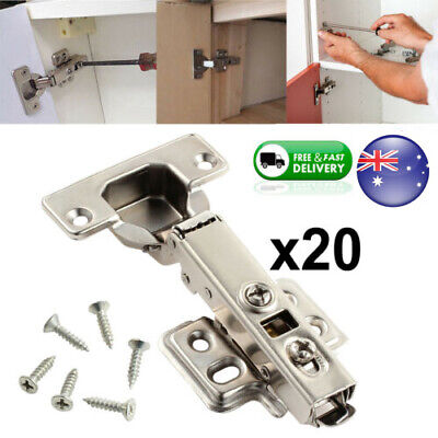 20X Kitchen Cabinet Safety Door Hinges Hydraulic Soft Close Overlay Cupboard AU