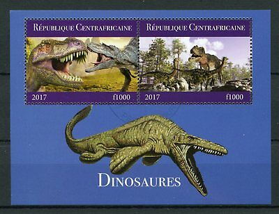 Central African Republic 2017 CTO Dinosaurs 2v M/S I T-Rex Tyrannosaurus Stamps