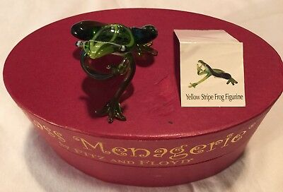 Fitz And Floyd Glass Menagerie Yellow Stripe Frog In Original Box With Tag