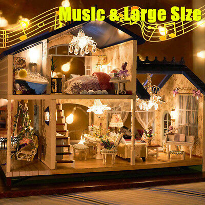 DIY Kits LED Music Dollhouse Miniature Wooden Furniture Provence Christmas Gifts