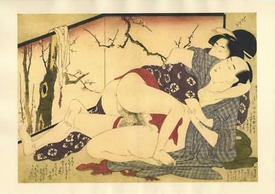 Japanese Reproduction Woodblock Print Shunga Style D# Erotic A4 Parchment Paper