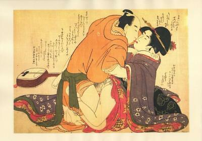 Japanese Reproduction Woodblock Print Shunga Style F# Erotic A4 Parchment Paper
