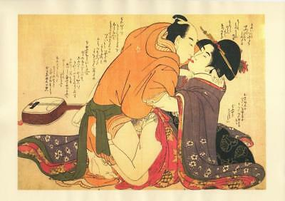 Japanese Reproduction Woodblock Print Shunga Style K# Erotic A4 Parchment Paper