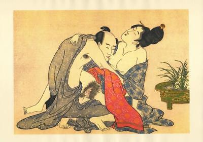 Japanese Reproduction Woodblock Print Shunga Style L# Erotic A4 Parchment Paper