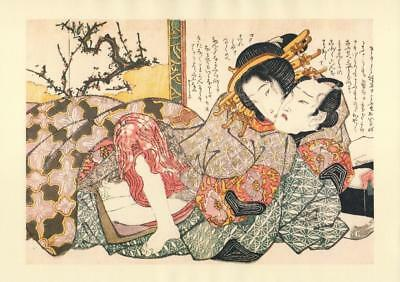 Japanese Reproduction Woodblock Print Shunga Style S# Erotic A4 Parchment Paper
