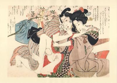 Japanese Reproduction Woodblock Print Shunga Style T# Erotic A4 Parchment Paper