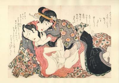 Japanese Reproduction Woodblock Print Shunga Style U# Erotic A4 Parchment Paper
