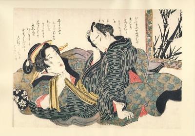 Japanese Reproduction Woodblock Print Shunga Style V# Erotic A4 Parchment Paper
