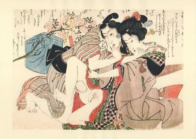 Japanese Reproduction Woodblock Print Shunga Style W# Erotic A4 Parchment Paper
