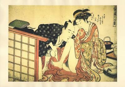 Japanese Reproduction Woodblock Print Shunga Style c# Erotic A4 Parchment Paper