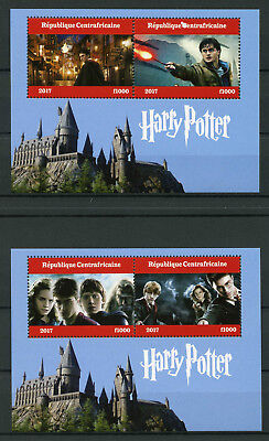 Central African Republic 2017 MNH Harry Potter 2x 2v M/S Hogwarths Castle Stamps