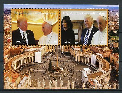 Central African Rep 2017 CTO Donald Trump Pope Francis Vatican 2v M/S I Stamps