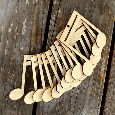 10x Wooden Music Note Beamed Double Craft Shape 3mm Ply Entertainment