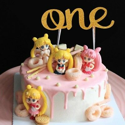 Handmade 1st First Birthday Cake Topper One Double Sided Gold Glitter Decoration