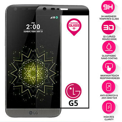 Curved 3D Real Tempered Glass Film Screen Protector For LG G5 Black