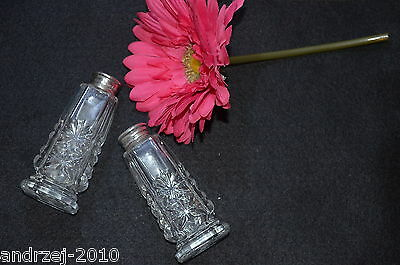 Antique Sterling Silver 0.925  & Cut Crystal Salt & Pepper - Mother Of  Pearl To