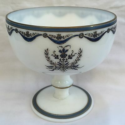 Beautiful and Antique CUP on Foot Opaline White 19th Decor Flowers