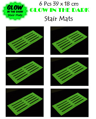 6 x GLOW IN THE DARK STAIR MAT 39x18cm Stair Mat High Visibility Mat Stair Tread
