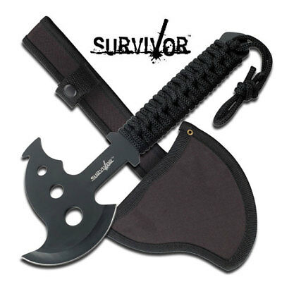 Survivor Cord Wrapped Rescue Hand Camping + Hunting Axe with Nylon Sheath
