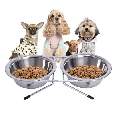 Stainless Steel Double Pet Bowls Dog Cat Water Food Non Slip Feeding Station