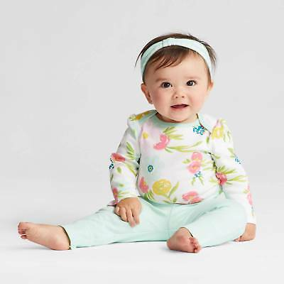 Baby Girls' 4pk Long Sleeve Bodysuit Mint/Blue - Cloud Island™