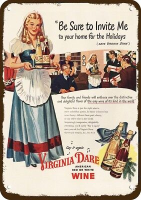 1946 VIRGINIA DARE AMERICAN RED & WHITE WINE Vintage Look Replica Metal Sign
