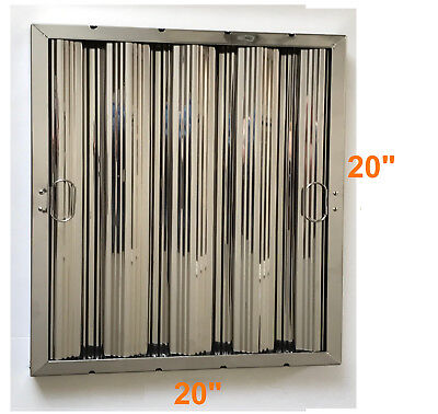 "Box of 6 Stainless Steel Commercial Range Hood Baffle Grease Filter 20"" x 20"""