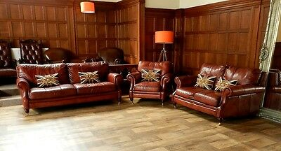 Victorian Style Chestnut Tan Brown Leather Suite 3 & 2 Seater Club Sofa Armchair