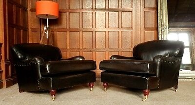 PAIR of CHAIRS OF BATH LANDSDOWN CIGAR BROWN LEATHER HOWARD STYLE CLUB ARMCHAIRS