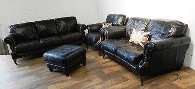 Victorian Style Brown Leather Chesterfield Suite 3 & 2 Seat Sofas Armchair Stool