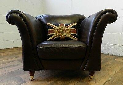 VICTORIAN STYLE HAND DYED CIGAR BROWN LEATHER CHESTERFIELD CLUB CHAIR 2 of PAIR