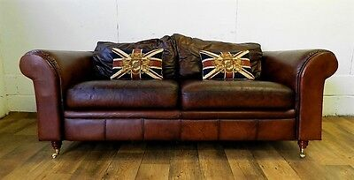 Victorian Style Cigar Hand Dyed Brown Leather Chesterfield 3 Seater Club Sofa