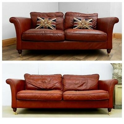 Pair Of Victorian Style Brandy Tan Leather Chesterfield Suite 3 & 4 Seater Sofas