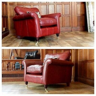 Pair Of Victorian Style Brandy Tan Red Leather Chesterfield Club Armchairs