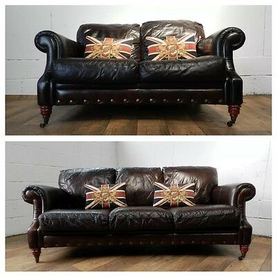 Victorian Style Cigar Brown Stud Leather Chesterfield Suite 3 & 2 Seater Sofas