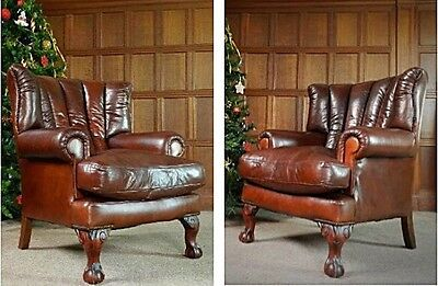 Pair Of Tetrad Blake John Lewis Antique Cigar Brown Leather Club Armchairs