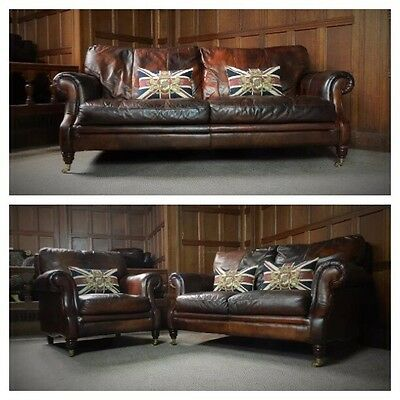 Victorian Style Cigar Brown Leather 3 Piece Suite 3 & 2 Seater Club Sofa & Chair