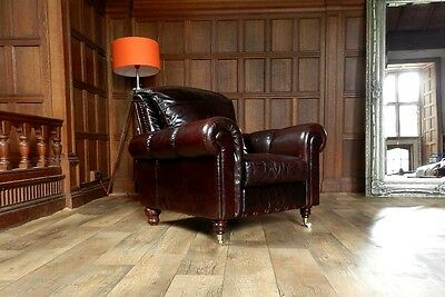 VICTORIAN STYLE CIGAR CONKER BROWN LEATHER CHESTERFIELD CLUB ARMCHAIR 1 of PAIR