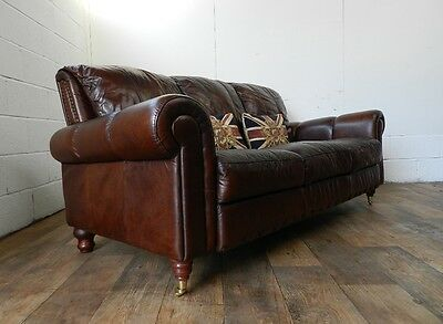 Victorian Style Cigar Brown Hand Dyed Leather Chesterfield 3 Seater Club Sofa
