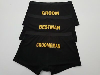 Personalised Underwear Wedding Groom, Groomsman, Bestman, GLITTER COLOURS