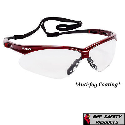 Jackson Nemesis 47378 Safety Glasses Clear Anti-Fog Lens Inferno Red Frame 1 Pr