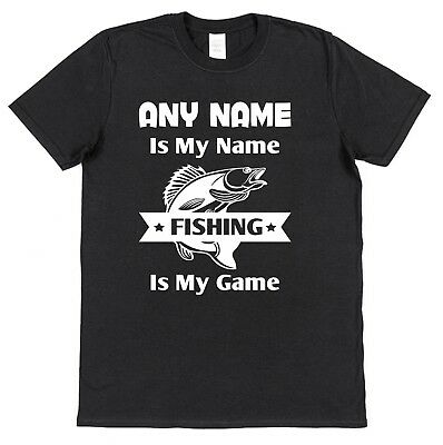Personalised Funny Fishing Is My Game T-Shirt Any Name Fisherman Gift Grandad