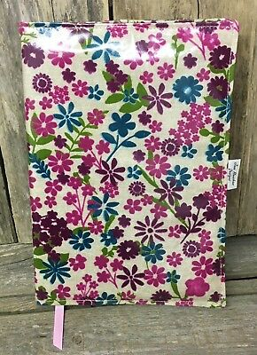 A4 diary cover,book bag,A4 book bag,diary cover,Pink Flowered oilcloth