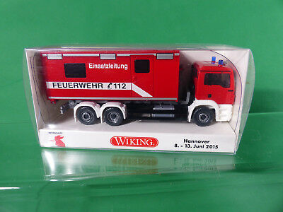 Werbemodell Wiking 0625 50 MAN TGS Fw Abrollcontainer Interschutz 2015 NOS