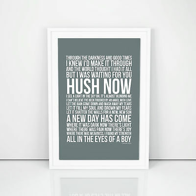 Celine Dion A New Day Has Come Lyric Poster Print Design A3 A4 Size Song Artwork