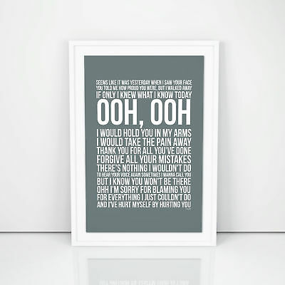 Christina Aguilera Hurt Lyrics Poster Print Design A3 A4 Size Song Artwork