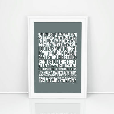 Def Leppard Hysteria Lyrics Poster Print Design A3 A4 Size Song Artwork