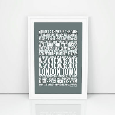 Dire Straits Sultans Of Swing Lyrics Poster Print Design A3 A4 Size Song Artwork