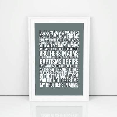 Dire Straits Brothers In Arms Lyrics Poster Print Design A3 A4 Size Song Artwork