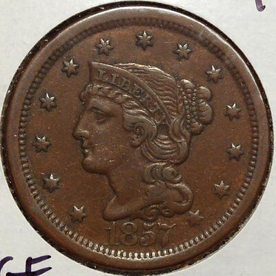 1857 Large Cent, Choice Extremely Fine, Scarce Last Year of Issue   0524-17